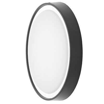 Newton LED Round IP65 Flush Wall Light Coastal Outdoor Light Black Litecraft