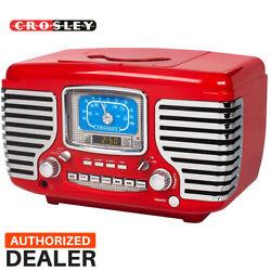 NEW Crosley CR612-RE Red Corsair Retro AM/FM Radio Dual Alarm Clock CD Player