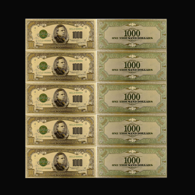 5pcs 1918 Year 1000 Dollar 24k Gold Plated Gold Banknote Art Ornament