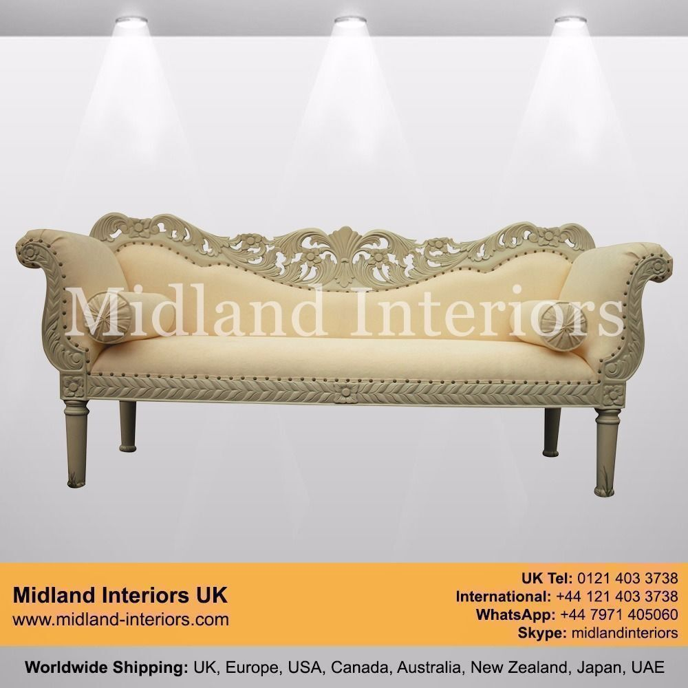 New Berlin Wedding Chaise Sofa Ivory Luxury Asian French Italian Gilded Gothic Antique Ornate
