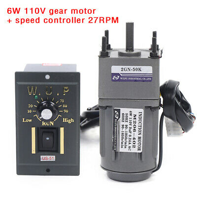 110v Reversible Ac Gear Motor Electric Variable Speed Controller 50k 27rpm
