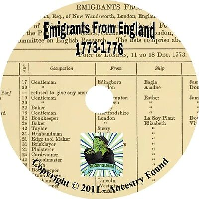 6000 names Immigrants ENGLAND history & genealogy on CD