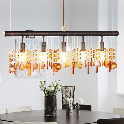 Decken Hänge Lampe Wohnraum Bernstein Kristall Behang Pendel Lüster Leuchte WOFI (Kristall-pendelleuchte)