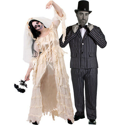 COUPLES DEAD BRIDE AND GROOM COSTUME WOMENS DRESS MENS STRIPED SUIT HALLOWEEN](Dead Bride And Groom Costumes)