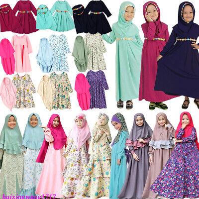 Muslim Girls Dress Islam Long Hijab Abaya Kids 2 piece Sets Prayer Kaftan Jilbab