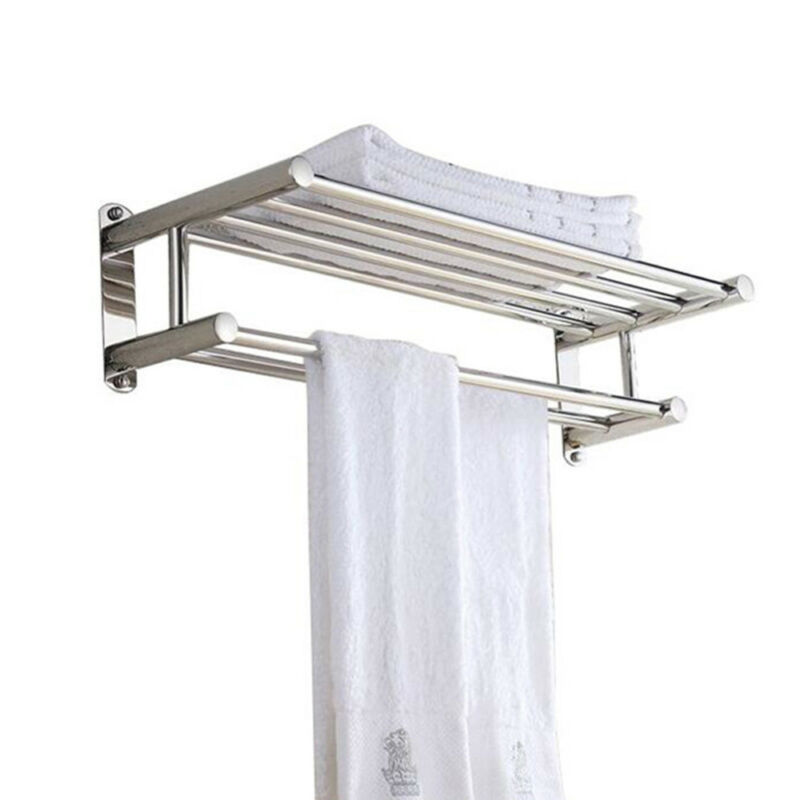 Double Chrome Towel Rail Holder Wall Mounted Bathroom Rack Shelf Stainless Steel Ebay