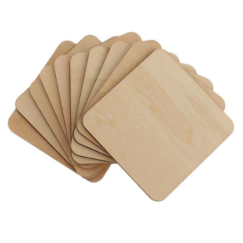 Details about Unfinished Scrapbooking Square Wood Pieces Ornament Blank  Plaque Wooden Tags