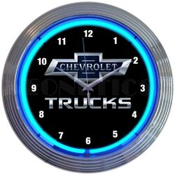 Chevy Trucks 100th Anniversary Car Garage Blue Light Neon Clock 15 by 15