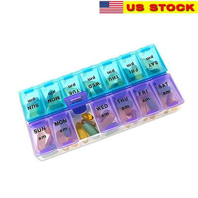 Weekly Pill Organizer Twice a Day 7 days AM PM Organizer Case Medicine Storage