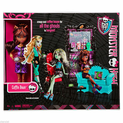 Monster High Coffin Bean Playset + Clawdeen Doll New in Box Toy Great Gift X3721