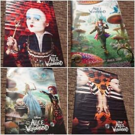 Disney - Alice in Wonderland- 4 Cinema LARGE promotional posters - Great condition