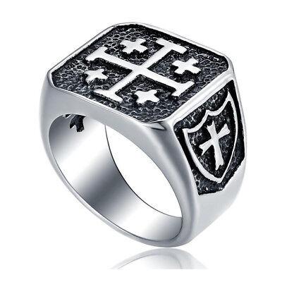 Mens Cross Ring (Men's Vintage Stainless Steel Crusader Jerusalem Cross Knight Templar Ring)
