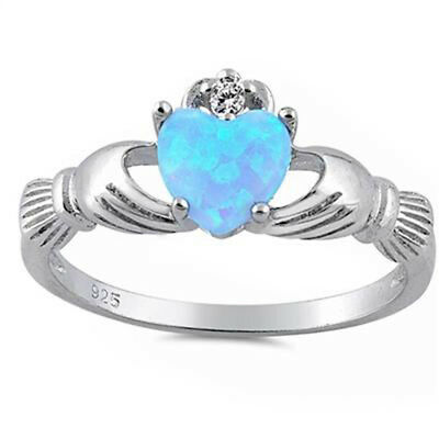 Light Blue Opal Irish Claddagh & Cubic Zirconia .925 Sterling Silver Ring  (Opal-irish Ring)