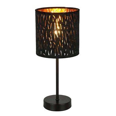 Lámpara de Mesa Redondo, 1 Tubo Recto Color Oro Terciopelo Negro Big.light