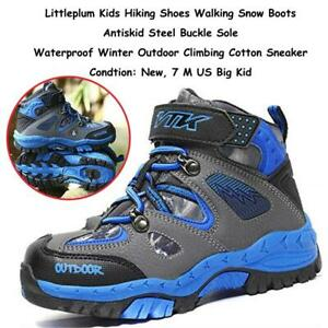 NEW Littleplum Kids Hiking Shoes Walking Snow Boots Antiskid Steel Buckle Sole Waterproof Winter Outdoor Climbing Cot...