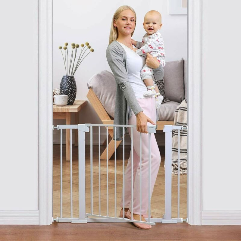 """Cumbor 40.6"""" AutoClose Safety Baby Gate, Includes 4 Wall Cups, 2.75-Inch&5.5-Inc"""