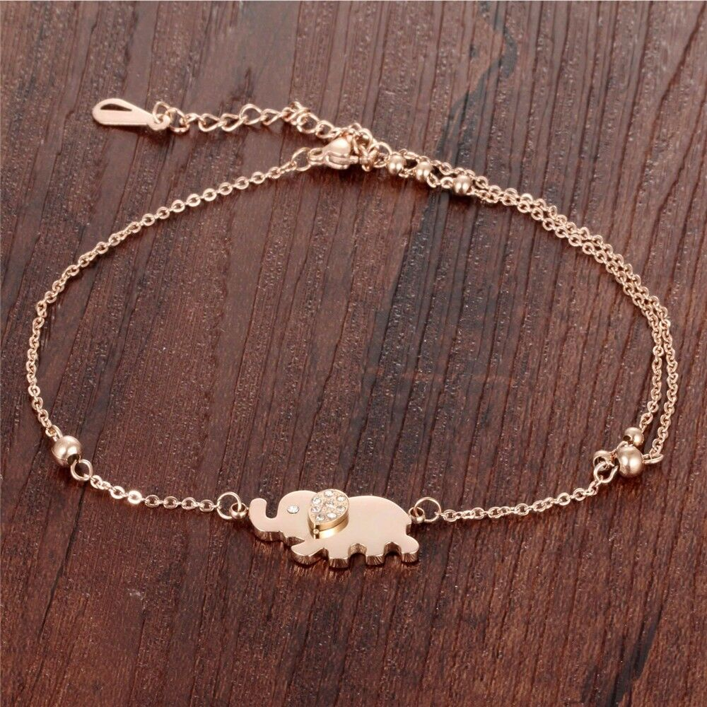 Rose Gold Plating Zircon Elephant Charm Anklet