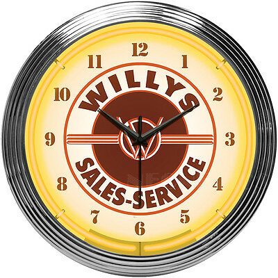 JEEP Willys Sales & Service Neon Clock - Since 1941 - Factory Direct - Retro