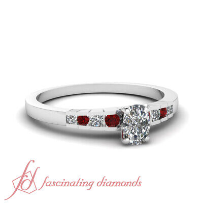 1.10 Ct Platinum Engagement Ring With Cushion Cut Diamond And Round Ruby GIA