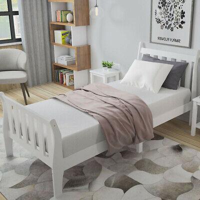 Safe 3ft Single Bed in White Solid Wooden Sleigh Bed Frame Kids Children Bedroom