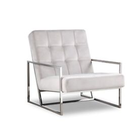 1 x Nova Fog Grey Velvet Occasional Chair