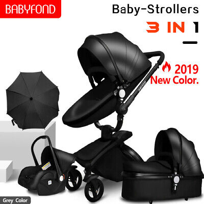 High End Baby Stroller 3 in 1 travel system infant Bassinet Combo PU Pushchair