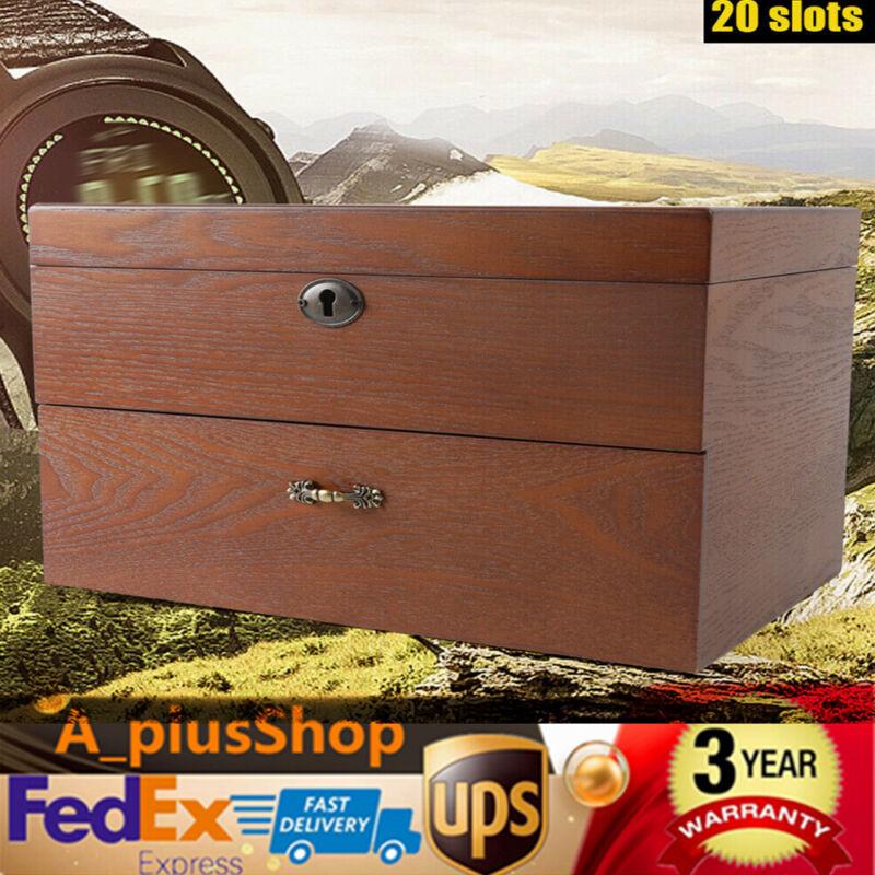 20 Slots Watch Box Wooden Watch Case Display Organizer Storage With Lock USA