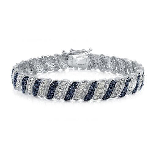 1.00ct TDW Treated Blue & White Diamond Wave Link Tennis Bracelet in Brass