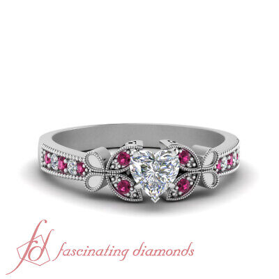 Heart Shaped Diamond And Pink Sapphire Milgrain Pave Engagement Ring 0.65 Ctw