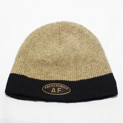 Abercrombie & Fitch 100% Wool Winter Beanie Hat Beige Mens Adult