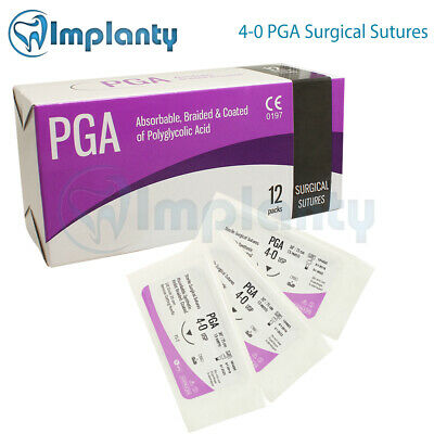 4-0 Braided Absorbable Pga Surgical Suture Dental Medical Wound 12pcsbox
