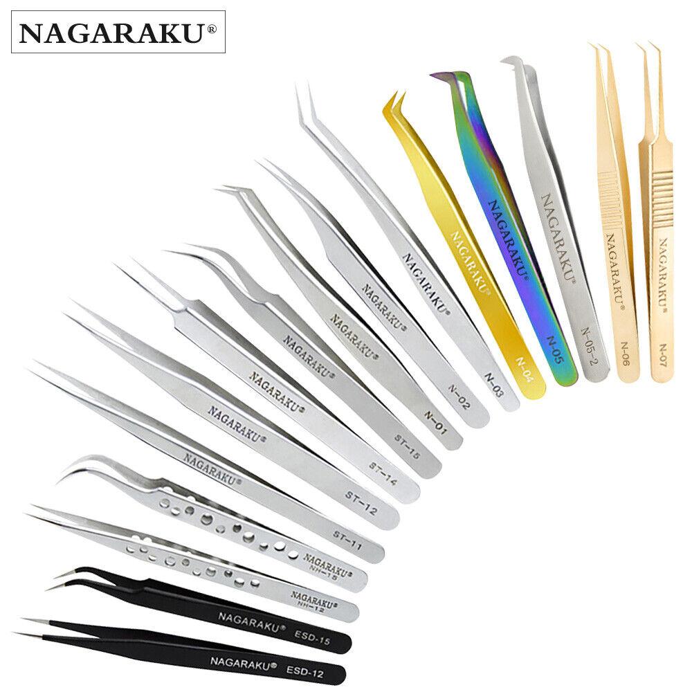 NAGARAKU Eyelash Extension Tweezers Makeup Stainless Steel Non-magnetic Pincet