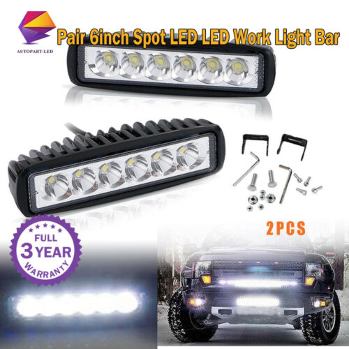 2X 6'' LED Work Light Bar Spot  Beam Offroad Car Truck SUV Jeep SUV 4WD ATV Slim