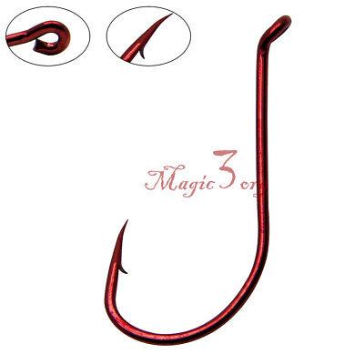 50/100pcs Fishing Hooks High Carbon Steel Red Octopus Offset Circle  Bass Jig