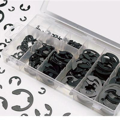300Pcs E-Clip 3mm 4mm 5mm 6mm 8mm 9mm Retaining Ring Assortment Kit black