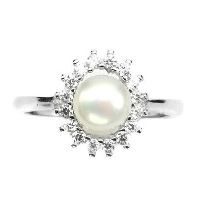 Round 7mm White Pearl White Cz 14k White Gold PLATE 925 Sterling Silver Ring  14k White Gold Cz Rings