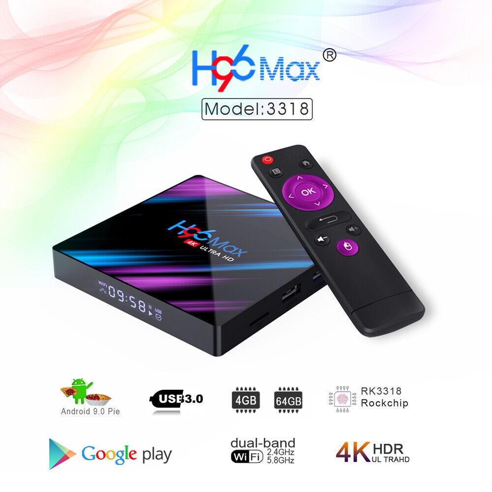 2019 H96 MAX RK3318 USB 3.0 Android 9.0 Quad Core 4K HD Smart BT 4.0 Top TV Box