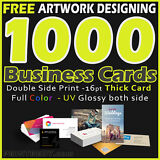 1000 Business Cards Full Color 2 Side Printing UV Coated-Free Designing-Shipping