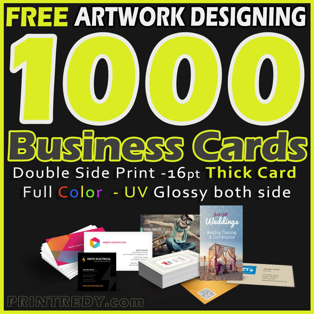 Купить 1000 Business Cards Full Color 2 Side Printing UV Coated-Free Designing-Shipping