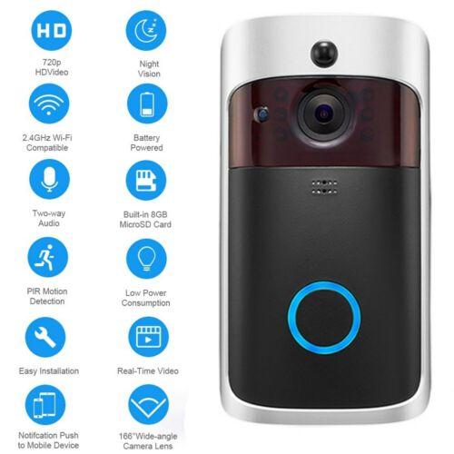Wireless Smart WiFi DoorBell IR Video Visual Camera Intercom Home Security Kit