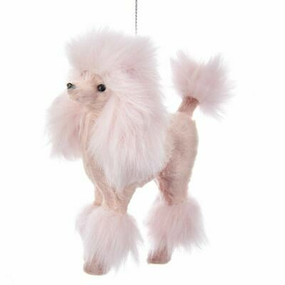 """PLUSH PINK POODLE Fuzzy Christmas Ornament, 4"""" Tall, by Kurt Adler"""