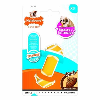*NEW* NYLABONE X SMALL PUPPY TEEETHING BEEF KNOT BONE CHEW TOY PUPPIES 0-7KG 236
