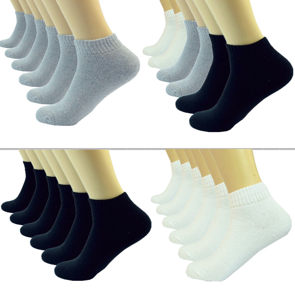 Black Gray White Ankle/Quarter Crew Mens Socks Cotton Low Cu