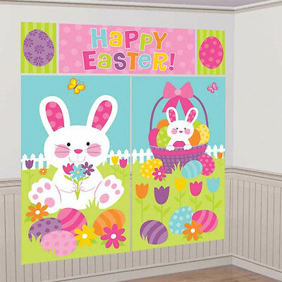 Happy Easter Scene Setter Large Bunny Wall Decoration Party Photo Prop Banner - Easter Scene Setters