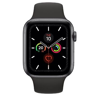 Apple Watch Series 5 GPS 44mm MWVF2 Gray Aluminum Caja Negro Sport Band