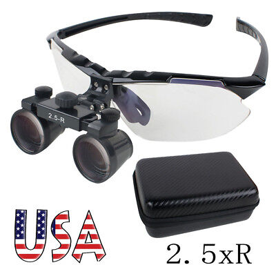 Dental Surgical Medical Binocular Loupes 2.5x R 360580mm Adjustable Eva Case