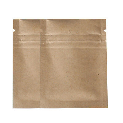 100 Flat Brown Kraft W Tear Notch Ziplock Mylar Bags 6x8cm 2.25x3in A579