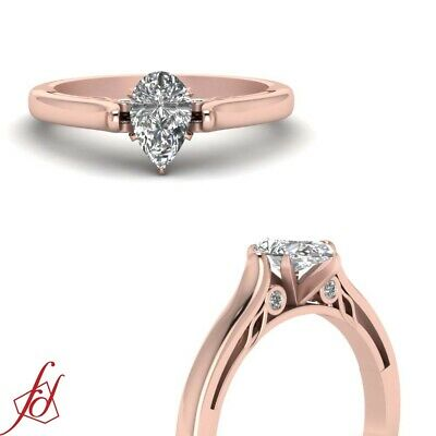Bezel Set 1/2 Ct Pear Shaped Natural Diamond Engagement Ring With Round Accents