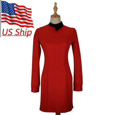 Star Trek Discovery Season 2 Starfleet Commander Female Red Dress Badge Costumes](Star Trek Female Costumes)