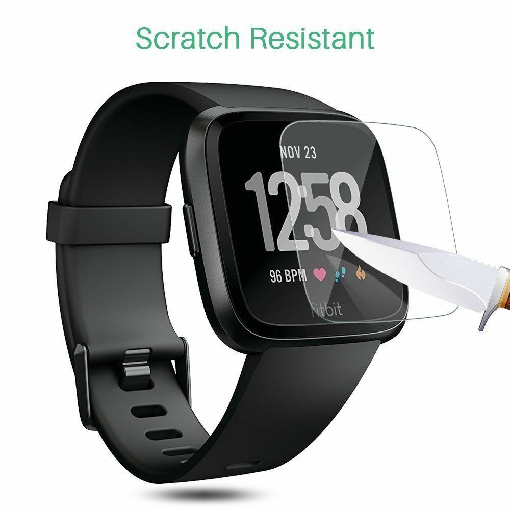 Fitbit Versa [2-PACK ] Tempered Glass Screen Protector Saver Shield Cover Cell Phone Accessories